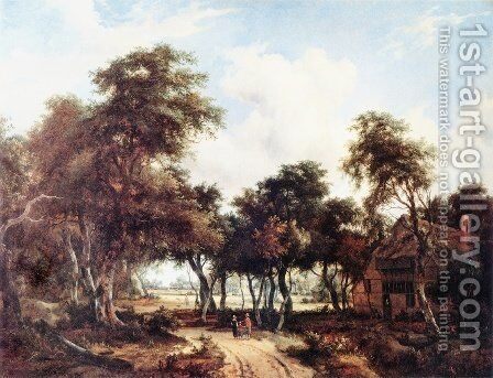Landscape with Woods and Cottage by Meindert Hobbema - Reproduction Oil Painting