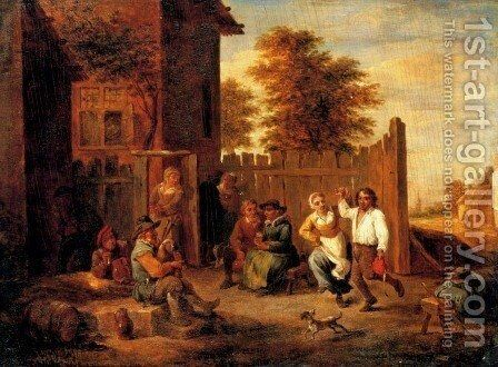 Peasants merrying outside an inn by David The Younger Teniers - Reproduction Oil Painting