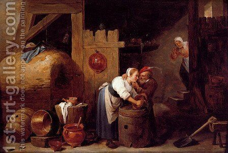 An Interior Scene With A Young Woman Scrubbing Pots While An Old Man Makes Advances by David The Younger Teniers - Reproduction Oil Painting