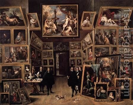 Archduke Leopold Wilhelm in his Gallery by David The Younger Teniers - Reproduction Oil Painting