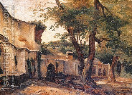 Fountain near Algiers by Jean-Charles Langlois - Reproduction Oil Painting