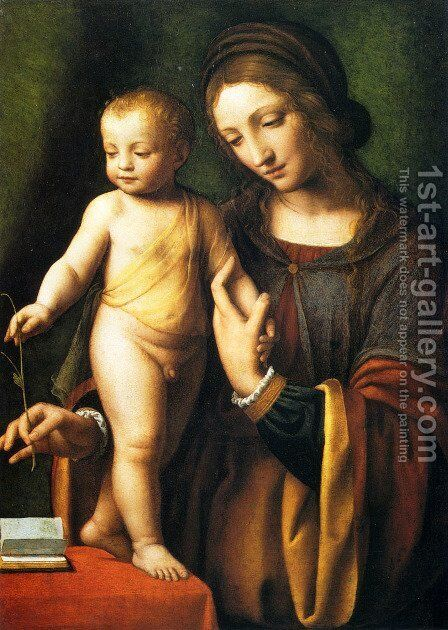 The Virgin And Child With A Columbine by Bernardino Luini - Reproduction Oil Painting