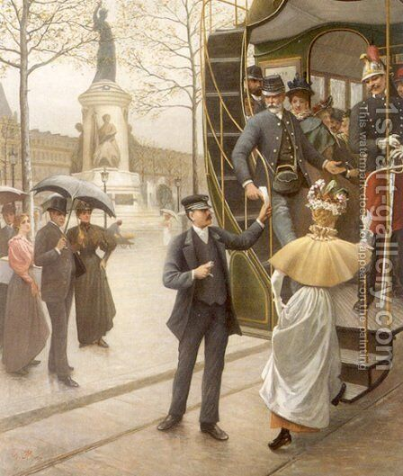 Catching the Trolley by Charles Borromée Antoine Houry - Reproduction Oil Painting