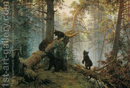 Morning in the Pine-tree Forest by Ivan Shishkin - Reproduction Oil Painting