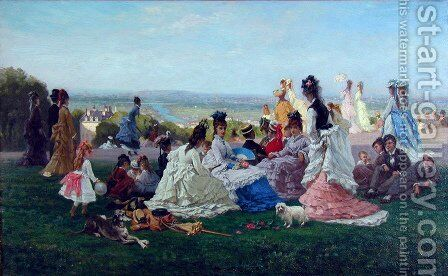 Sunday Afternoon by August Foulhause - Reproduction Oil Painting
