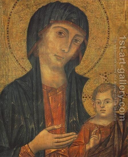 The Madonna in Majesty (Maestà) [detail #1] by (Cenni Di Peppi) Cimabue - Reproduction Oil Painting