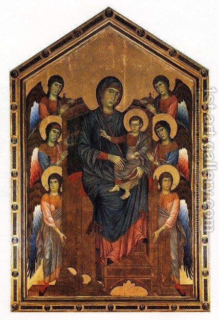 The Virgin And Child In Majesty Surrounded By Six Angels by (Cenni Di Peppi) Cimabue - Reproduction Oil Painting
