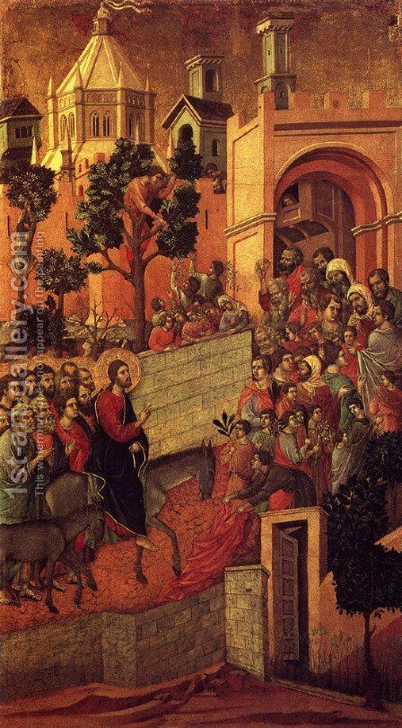 Maesta (Detail From The Maesta Alterpiece) (or Entry Into Jerusalem) by Duccio Di Buoninsegna - Reproduction Oil Painting