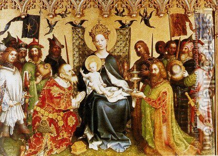 Adoration Of The Magi (central panel of the altarpiece of the Patron Saints of Cologne) by Stefan Lochner - Reproduction Oil Painting