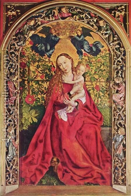 Madonna Of The Rose Bower by Martin Schongauer - Reproduction Oil Painting