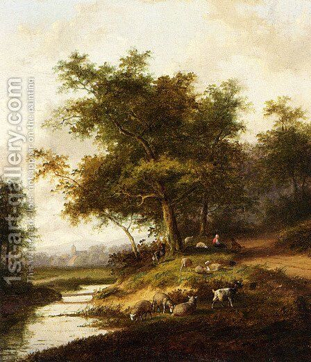 A Shepherdess And Her Flock At Rest by Jan Evert Morel - Reproduction Oil Painting