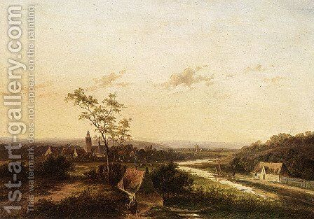 An Extensive Summer Landscape With A Town In The Background by Jan Evert Morel - Reproduction Oil Painting