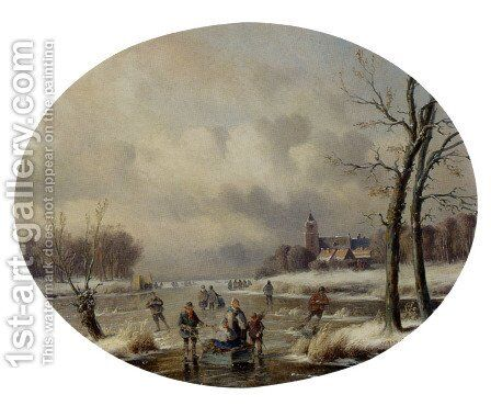 Skaters On A Frozen Waterway, A 'Koek En Zopie' In The Distance by Carl Eduard Ahrendts - Reproduction Oil Painting