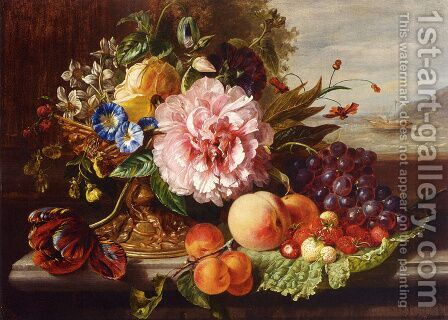 A Still Life With Flowers And Fruit by Helen Augusta Hamburger - Reproduction Oil Painting