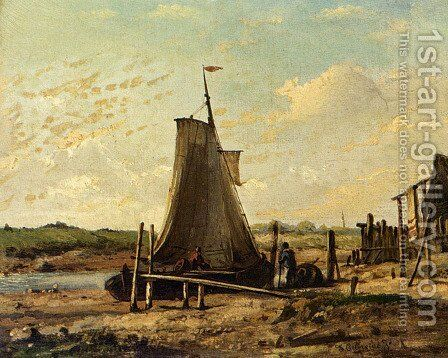 Low Tide by Johan Conrad Greive - Reproduction Oil Painting