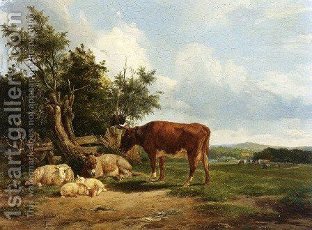 An Extensive Landscape With Cattle Resting by Simon Van Den Berg - Reproduction Oil Painting