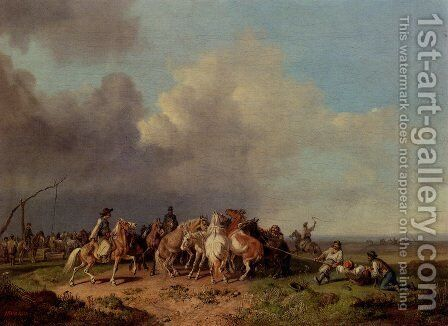 The Horse Round-Up by Heinrich Bürkel - Reproduction Oil Painting