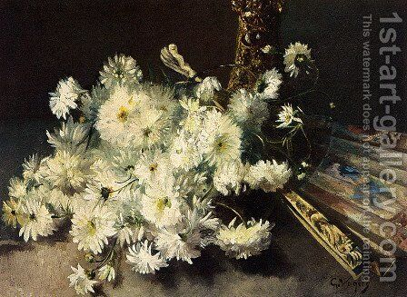 A Still Life With Chrysanthemums And A Fan by Guillaume Vogels - Reproduction Oil Painting