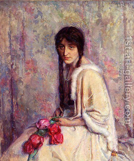 A Girl Holding Flowers by Albert Roelofs - Reproduction Oil Painting