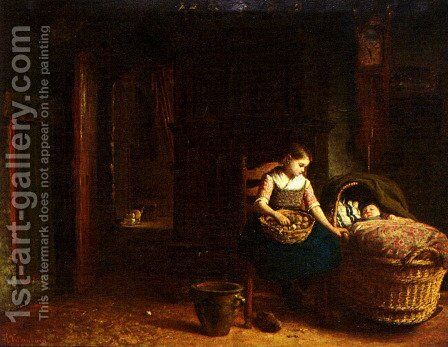 By The Cradle by Hendrik Valkenburg - Reproduction Oil Painting