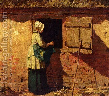 A Peasant Woman By A Barn by Anton Mauve - Reproduction Oil Painting