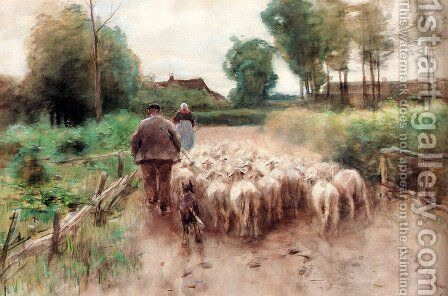 Bringing Home The Flock by Anton Mauve - Reproduction Oil Painting