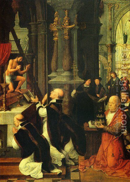 The Mass Of St. Gregory by Adriaen Isenbrandt (Ysenbrandt) - Reproduction Oil Painting