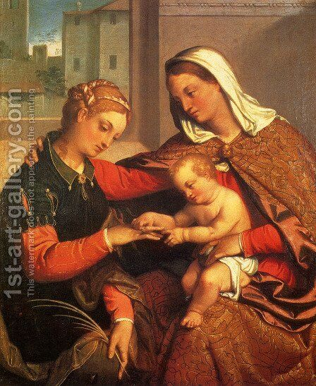 The Mystic Marriage Of St. Catherine by Giovanni Battista Moroni - Reproduction Oil Painting