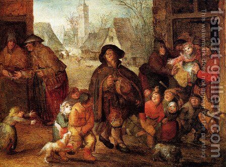 The Blind Hurdy Gurdy Player by David Vinckboons - Reproduction Oil Painting