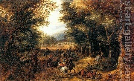 Forest Scene with Robbery by David Vinckboons - Reproduction Oil Painting