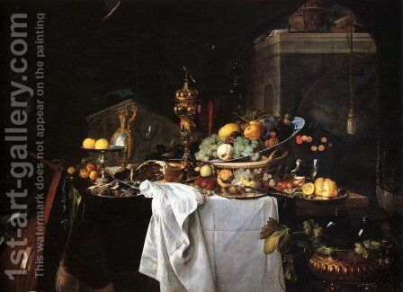 Still Life Of Dessert by Jan Davidsz. De Heem - Reproduction Oil Painting