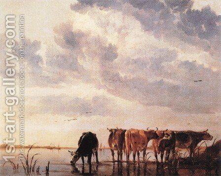 Cows in a River by Aelbert Cuyp - Reproduction Oil Painting