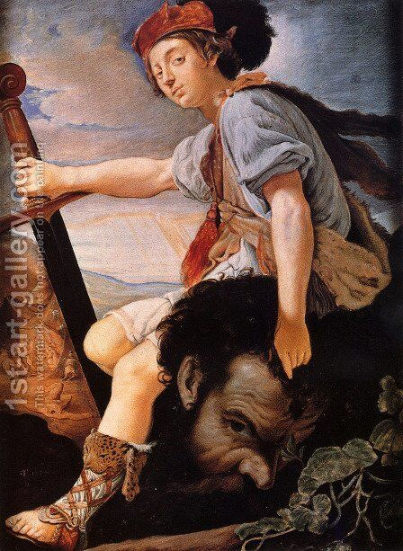 David With The Head Of Goliath by T. Flatman - Reproduction Oil Painting