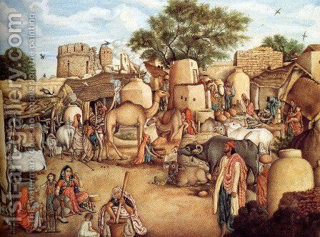 A Village Scene In The Punjab by Gulam Ali Khan - Reproduction Oil Painting