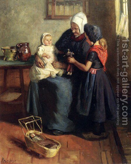 The New Doll by Hendrik Maarten Krabbe - Reproduction Oil Painting