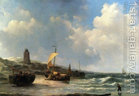 Fishing Boats At Low Tide by Jan Christianus Schotel - Reproduction Oil Painting