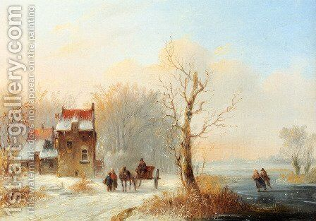 A Winter Landscape With Skaters On A Frozen waterway And A Horse-drawn Cart On A Snow-covered Track by Jacobus Van Der Stok - Reproduction Oil Painting