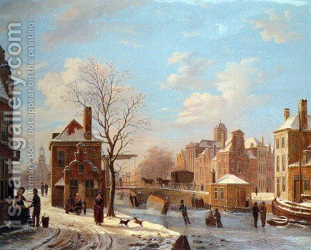 A Dutch Town Scene in Winter by Bartholomeus Johannes Van Hove - Reproduction Oil Painting