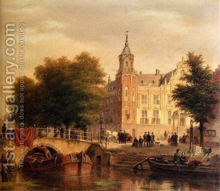 A Sunlit Townview With Figures Gathered On A Square Along A Canal by Bartholomeus Johannes Van Hove - Reproduction Oil Painting