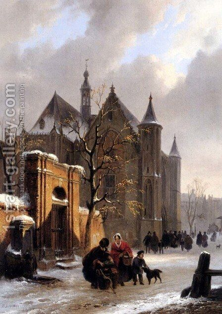 A Capricio View With Figures Leaving A Church In Winter by Bartholomeus Johannes Van Hove - Reproduction Oil Painting