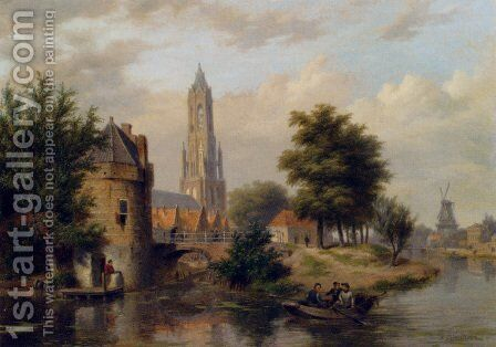 View Of A Riverside Dutch Town by Bartholomeus Johannes Van Hove - Reproduction Oil Painting