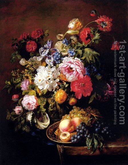 Roses, Peonies, Poppies, Tulips And Syringa In A Terracotta Pot With Peaches And Grapes On A Copper Ewer On A Draped Marble Ledge by Adriana-Johanna Haanen - Reproduction Oil Painting