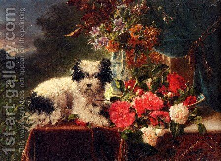 Camellias And A Terrier On A Console by Adriana-Johanna Haanen - Reproduction Oil Painting