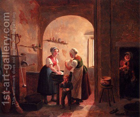 Washerwomen In A Sunlit Basement With A Young Boy Blowing Bubbles by Constantin Fidèle Coene - Reproduction Oil Painting