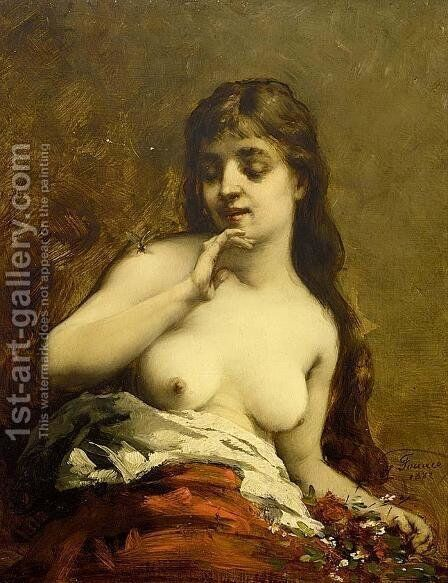 Female Nude by Guillaume-Romain Fouace - Reproduction Oil Painting