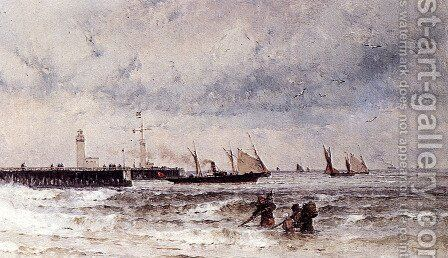 Shipping Near A Harbour Entrance by Theodor Alexander Weber - Reproduction Oil Painting