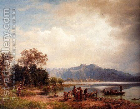 A Mountain Lake, South-Germany by Eduard Carl Post - Reproduction Oil Painting