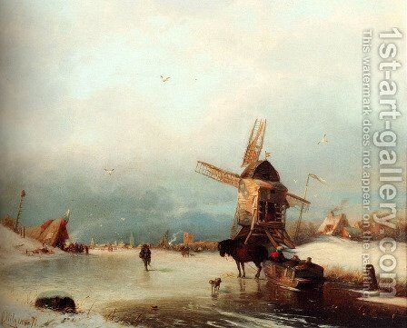 A Winter Landscape With A Horse-drawn Sledge On A Frozen River By A Windmill by Carl Hilgers - Reproduction Oil Painting