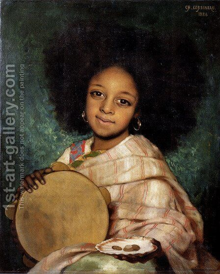 La Fille Avec Tambourin by Charles-Auguste Corbineau - Reproduction Oil Painting