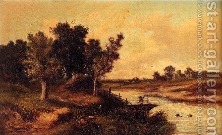 In The English Countryside: An Angler In A Boat On A River, A Village Church Beyond by Abraham Hulk Jun. - Reproduction Oil Painting